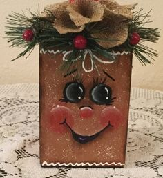 Gingerbread Hand Painted Block With Upcycled by CraftsByJoyice Pinterest Christmas Crafts, Christmas Wood Crafts, Snowman Crafts, Christmas Items, Christmas Art, Holiday Crafts, Christmas Ornaments, Gingerbread Man Decorations, Gingerbread Crafts