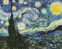 """Starry Night by Vincent van Gogh Free Cross Stitch Download STARRY NIGHT,"""" painted by Dutch post-impressionist Vincent van Gogh in 1889 with bold, sweeping strokes and swirling colors"""