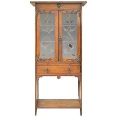 A tall oak Arts & Crafts movement bookcase with a pull out slide for resting books. Doors glazed with attractive leaded glass, circa Arts And Crafts For Adults, Arts And Crafts House, Easy Arts And Crafts, Crafts For Boys, Home Crafts, Mobile Auto Repair, Vintage Bookcase, Art And Craft Shows, Michael Art