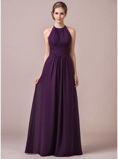 Chiffon Halter-neck Floor-length Bridesmaid Dress With Lace (007054347) - JJsHouse