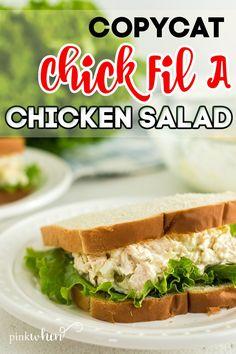 Easy Salad Recipes, Chicken Salad Recipes, Chic Fil A Chicken Salad Recipe, Chicken Salad Sandwiches, Chicken Salad Recipe Easy Healthy, Kitchen Recipes, Cooking Recipes, Healthy Snacks, Healthy Recipes