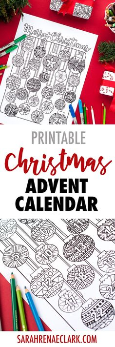 Coloring page advent calendar - A no-sugar advent calendar alternative for Christmas! | Find more Christmas printable activities and coloring pages at www.sarahrenaeclark.com/christmas