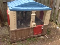 Chicken house/coop made from a recycled children's outdoor little tikes playhouse.