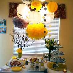 Pic of Bree's bridal shower... Just use 3m hooks and suspend from the ceiling! *yellow and gray*