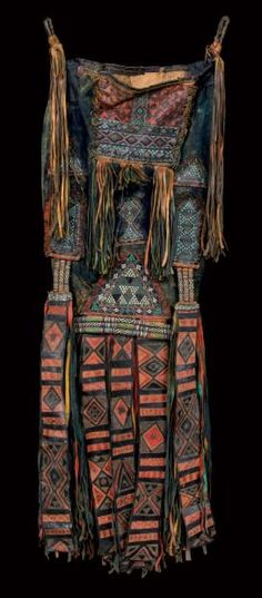 Africa | Man's saddle bag ~ tassoufra ~ from the Tuareg people of the Agadez region, Aïr, Niger. | Leather, embroidery and dye/pigments. | Used to store clothing and food. They are labouriously hand made by Tuareg women.