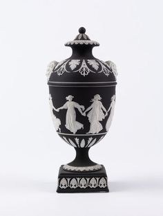 Vase      Place of origin:      Etruria, England (made)     Date:      ca. 1800-1830 (made)     Artist/Maker:      Josiah Wedgwood and Sons (maker)     Materials and Techniques:      Jasperware with applied reliefs     Credit Line:      Bequeathed by Mrs Jodrell