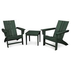 St. Croix 3pc Adirondack Set   Green   Polywood