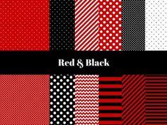 Ladybug Digital Paper, black and red Digital Paper, Digital Paper, Red Black Dots, Red Black Digital Paper, Red Black Stripes