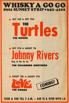 Whiskey A Go Go ad for The Turtles, Johnny Rivers, The Chambers Brothers, Love, & The Doors