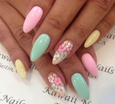There are three kinds of fake nails which all come from the family of plastics. Acrylic nails are a liquid and powder mix. They are mixed in front of you and then they are brushed onto your nails and shaped. These nails are air dried. Spring Nail Art, Nail Designs Spring, Acrylic Spring Nails, Spring Design, Nail Summer, Gel Nail Art Designs, Acrylic Nails For Summer Almond, Almond Nails Designs Summer, Cute Spring Nails