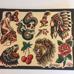 ✔ Tattoo Lion Old School Leo Traditional Tattoo Old School, Traditional Style Tattoo, Traditional Tattoo Flash, Sailor Jerry Tattoo Flash, Tattoo Flash Art, Sailor Tattoos, Desenhos Old School, Tradional Tattoo, Tattoos Mandala