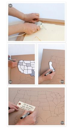 DIY Map guestbook - with all the guests we get from all over, this would be fun!