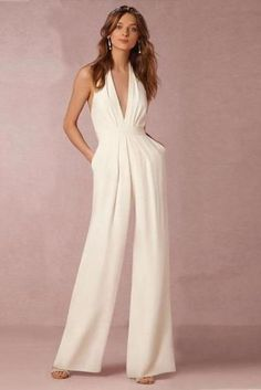 fa0b022d43f9 White Backless Sleeveless Hanging Neck Piece Jumpsuits