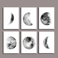 Moon Phases Watercolor Art Prints Set of 6 Lunar Phases