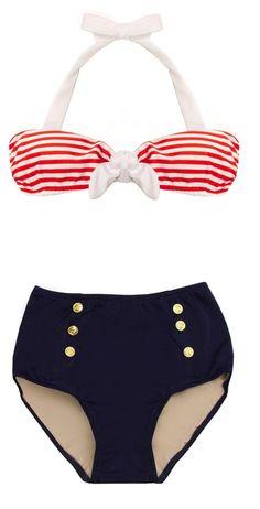 Retro Sailor Bikini #pinup #vintage #50s #swimsuit
