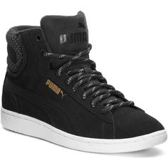 PUMA Vikky Mid Twill Women's Sneakers ($55) ❤ liked on Polyvore featuring shoes, sneakers, black, puma shoes, black trainers, round toe sneakers, grip trainer and puma trainers