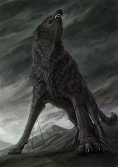 "In Norse mythology, Fenrir (Old Norse: ""fen-dweller""), is a monstrous wolf, one of the three miserable creatures sired by Loki, god of mischief and lies. Mythological Creatures, Fantasy Creatures, Mythical Creatures, Fenrir Tattoo, Art Zombie, Loki Son, Norse Vikings, Asatru, Norse Mythology"