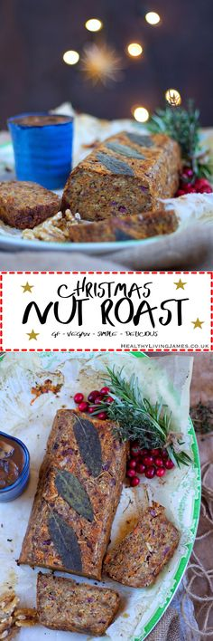Christmas Nut Roast : Christmas Nut Roast - The best free Christmas Nut Roast out there! Super easy to make and fail proof meaning you can relax on the day! You can also easily prep this the day before. Vegetarian Christmas Dinner, Vegan Christmas, Christmas Desserts, Christmas Roast, Simple Christmas, Xmas, Gf Recipes, Gluten Free Recipes, Whole Food Recipes