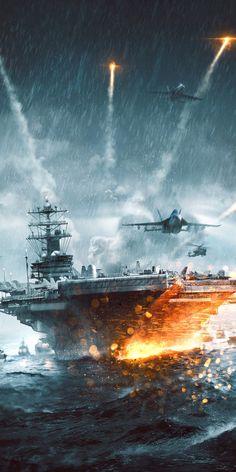 Military Guns, Military Art, Military Aircraft, Jet Fighter Pilot, Fighter Jets, World Of Warships Wallpaper, Warship Battle, Battlefield 4, Army Wallpaper