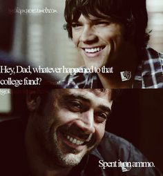 i think this is the only time sam and john smile and laugh together in the entire series. Worst part is that is not John talking...its azazel