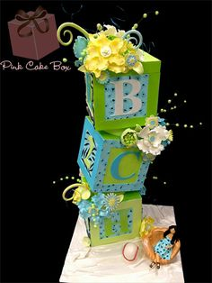 Baby Shower Block Cake