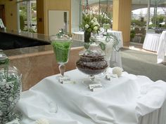 Green wedding candy table