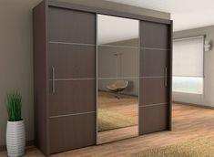 Brand New Modern Bedroom Wardrobe Sliding Door with Mirror INOVA in Wenge 250cm