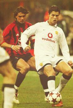 A young Cristiano Ronaldo and the legendary Paolo Maldini