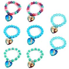 Cute XMAS GIFT Frozen Elsa Anna Heart Pendant Charm Beads Bracelet Bangle…