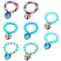 Cute XMAS GIFT Frozen Elsa Anna Heart Pendant Charm Beads Bracelet Bangle…