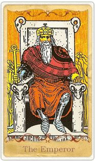 The Emperor - Rider-Waite.  This card is especially strong in the present position as it gives you an absolute confidence to move toward a goal. The long beard indicates wisdom accrued through age. The crown asserts status. The staff and globe are his authority and his domain, respectively. He is still wearing armor, assuring us that he will do battle if necessary, but that his sitting on the throne alone should assert that which has already been established through conflicts now settled.