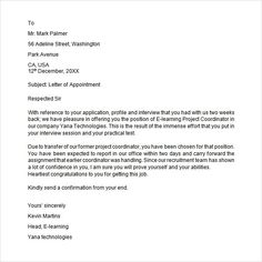 Sample Appointment Letter Download Free Documents Pdf Word Templates  Example Format