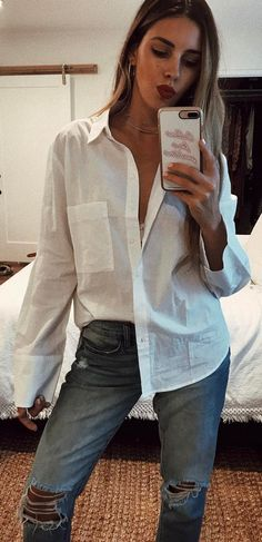 ead7258f364fd  summer  outfits White Shirt + Ripped Jeans 🌙 Summer Fashion Outfits