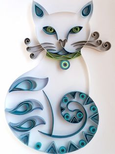 My name is Kitty, Blue Ki - Quilling Deco Home Trends Arte Quilling, Paper Quilling Patterns, Origami And Quilling, Quilled Paper Art, Quilling Paper Craft, Paper Beads, Paper Crafts, Quilling Ideas, Quilling Tutorial