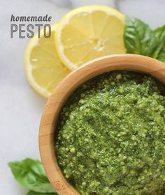 Make your own pesto using fresh basil from the garden. Great to use on pasta, pizza, or veggies! Risotto, Homemade French Bread, Pesto Recipe, Pesto Sauce, Good Food, Yummy Food, Homemade Pesto, Cooking Recipes, Healthy Recipes