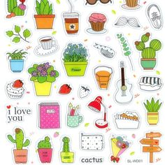 Little Things Crystal Stickers Pt. Tumbler Stickers, Food Stickers, Anime Stickers, Printable Stickers, Cute Stickers, Planner Stickers, Cactus, Monster Stickers, Magazine Collage