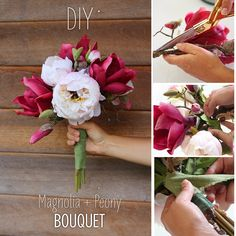 You can make your own wedding bouquet with high-quality silk flowers and a few simple steps.  Click here for the products you will need to recreate this simple DIY.