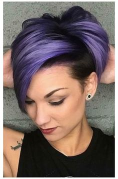 Short Pixie Haircuts, Short Hair Cuts, Short Hair Styles, Short Purple Hair, Short Hair Colour, Short Colorful Hair, Colored Short Hair, Purple Pixie Cut, Pastel Pixie Hair