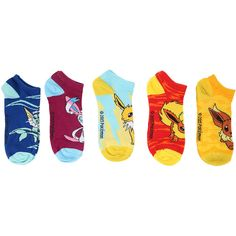 Hot Topic Pokemon Eevee Evolutions Mix & Match No-Show Socks 5 Pair ($15) ❤ liked on Polyvore featuring intimates, hosiery and socks