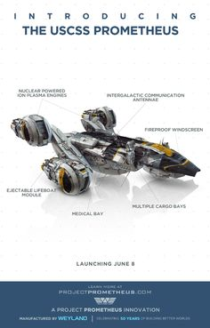 Hit the jump to check out this really cool new image for the Ridley Scott-directed science fiction horror film Prometheus, where we have a very detailed look at the ship itself, in this high-res diagram. Spaceship Design, Spaceship Concept, Concept Ships, Concept Art, Spaceship Art, Robot Design, Prometheus Movie, Prometheus 2012, Critique Film