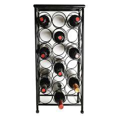 Metal Wine Rack Storage Black Cellar Top Shelf Circular Holders Durable Sturdy #Unbranded