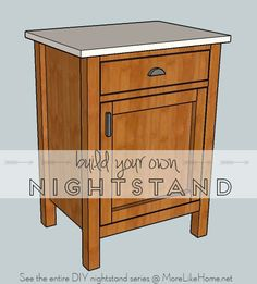 Build your own nightstand with 18 free plans! This plan is for a classic nightstand featuring both a cupboard and drawer. {MoreLikeHome.net}