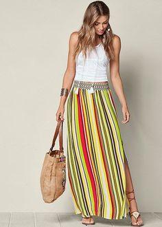 a82bc48a88 Venus Women's Stripe Print Maxi Skirt - Black/blue/green, Size XL Striped
