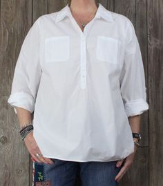 Talbots 18w 1x size Blouse White Cotton Casual Career Womens Shirt Plus Size Top