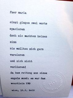 Sag mir ein Wort und ich schreib dir ein Gedicht. Inspiration: und.