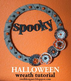 Make a spooky and cute Halloween wreath for your door or as a home décor accent piece!