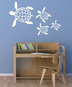 White Sea Turtles Wall Decal Set