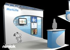 Nimlok designs and builds trade show exhibits and trade show booths. For MetLife, we created a 10' x 20' portable modular trade show display solution.