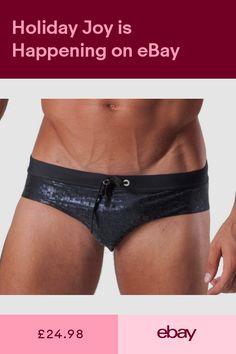 6cd6fdaa01 Geronimo Mens Swimwear Low Rise Metallic Brief Trunks Black Grey Swimming  suit