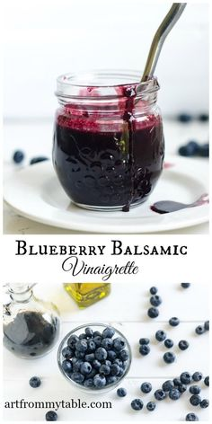 Blueberry Balsamic Vinaigrette Recipe ~ Easy Homemade Dressing only 3 ingredients This Blueberry Balsamic Vinaigrette Recipe is full of ripe, plump, and sweet blueberries blended with just the right amount of olive oil & balsamic vinegar. Balsamic Vinegarette, Balsamic Vinaigrette Recipe, Balsamic Dressing, Vinaigrette Dressing, Blueberry Salad, Blueberry Recipes, Blueberry Dressing Recipe, Vinaigrette, Gourmet